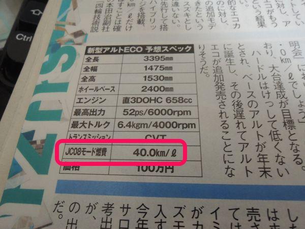 アルトエコの燃費は40.0km/L